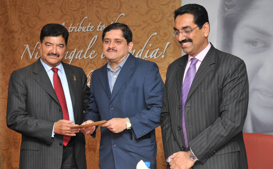 Author with Dr. B.R. Shetty and Mr. Sudhir Shetty