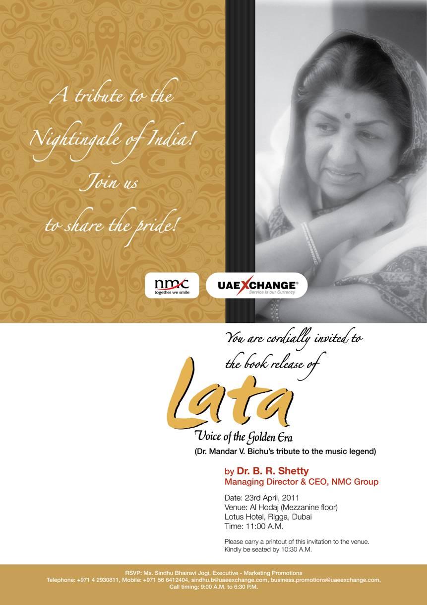 Lata Book Launch e-invite